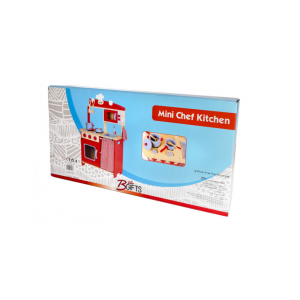 מטבח עץ לילדים - דגם כפרי אדום BGIFTS
