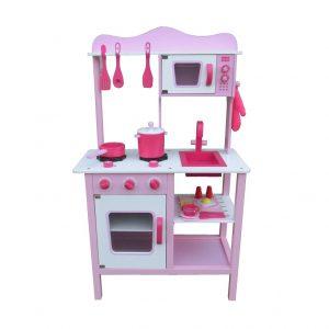 מטבח עץ לילדים - דגם אביגיל ורוד