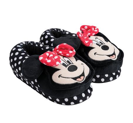 נעלי בית ראש מובלט דגם מיני מאוס שחור נקודות לבנות