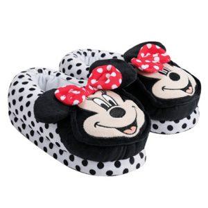 נעלי בית ראש מובלט דגם מיני מאוס לבן נקודות שחורות