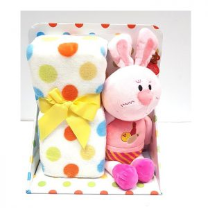סט מתנה לתינוקות שמיכה ובובה דגם ארנב ורוד