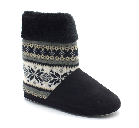 נעלי בית נשים דגם סרוג - שחור