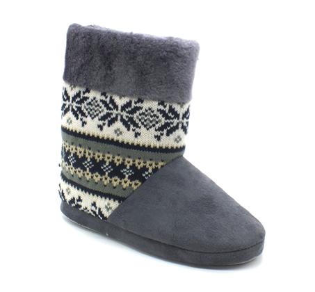 נעלי בית נשים דגם סרוג - אפור