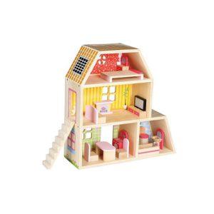 בית בובות קטן מכיל 15 חלקים עשוי עץ - Bgifts