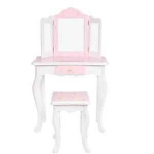 שידת איפור נסיכות+ כיסא בצבע לבן/ורוד