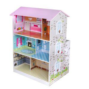 2 ב 1:בית בובות מעץ + מטבח עץ לילדים