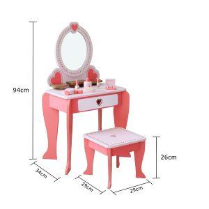 שידת איפור מעץ + כיסא בצבע ורוד