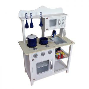 מטבחים לילדים - מטבח עץ דגם נעם בצבע לבן