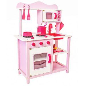מטבחים לילדים - מטבח עץ דגם נעם בצבע ורוד