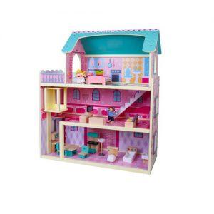 בית בובות רב קומות מעץ הכולל 2 בובות PIT TOYS