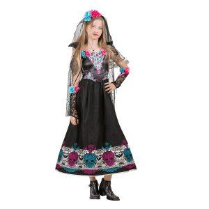 תחפושת לפורים נערת הגולגלות שחורה פרחים - שושי זוהר