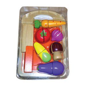 משחקי עץ לילדים סט ירקות+קרש חיתוך - PITOYS