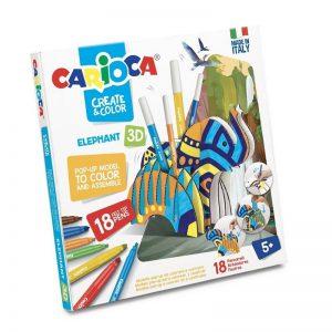 ערכת צביעה ויצירה תלת מימדית גדולה + 10 צבעים ומחזיק טושים - CARIOCA
