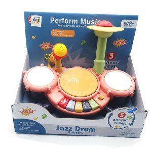 מערכת תופים אלקטרונית ג'אז + מיקרופון בצבעים לבחירה - ACE TOYS