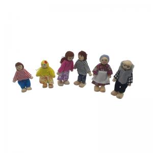 בובות עץ מארז 6 בובות מעץ משפחה