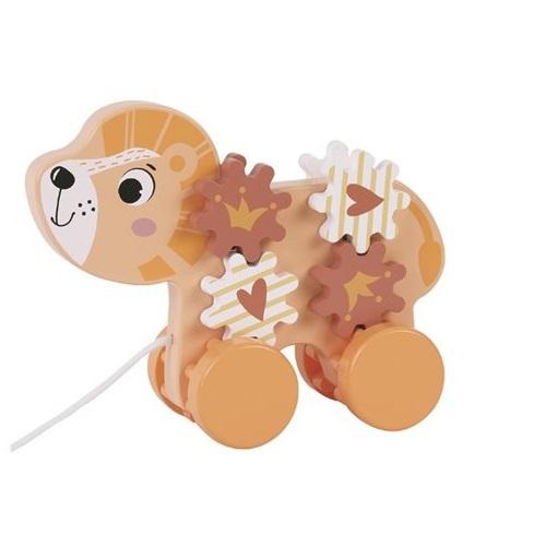 אריה נגרר / פיל נגרר עם גלגלי שיניים מעץ לפעוטות - PITOYS
