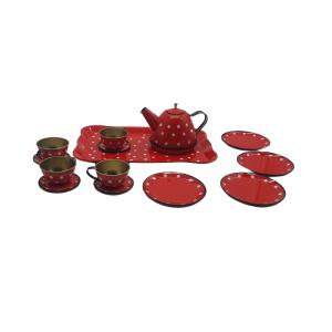 משחק לילדים סט תה אדום נקודות 14 חלקים