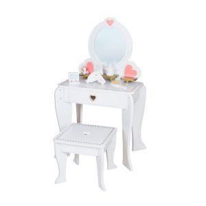 שידת איפור מעץ + כיסא בצבע לבן - משלוח חינם!